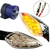 Complete Set of 4 x Motor Bike Front Rear Turn Signal Indicators Amber Light Carbon Style Flasher With Relay 12V