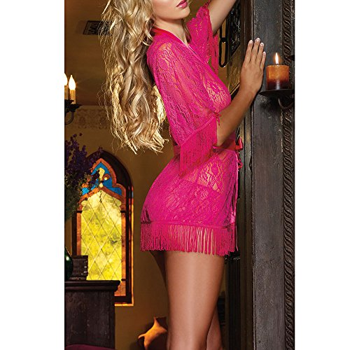 Zon-e Adult Women's See-through Lace Tasseled Sleepwear + Panty