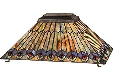 """Meyda Tiffany 21099 Jeweled Peacock Oblong Lamp Shade, 16"""" Length"""