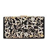 Minicastle Large Womens Noble Evening Clutch Bag Wedding Purse Bridal Prom Handbag Party Bag Black