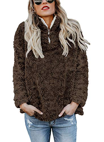 - Chase Secret Ladies Oversize Sherpa Fleece Zipper Sweatshirt Pullover Solid Sweater for Women S Brown
