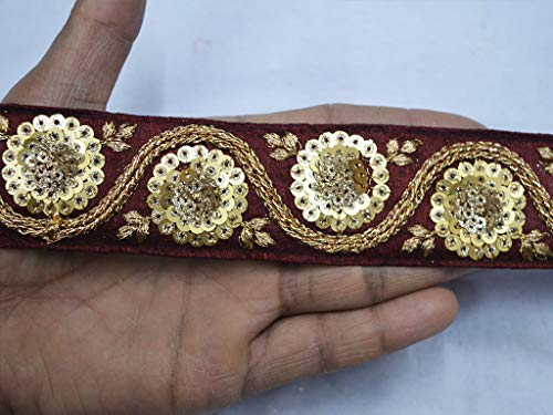 Burgundy and Gold 1.5 Inches Zari Thread Decorative Embroidery Floral Design Home Decor Christmas Supplies Sequins Trim by 9 Yard for Fancy Designer Costume