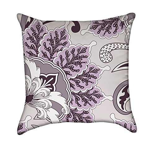 Lavender Oriental Flourish Floral Throw Pillow Cover