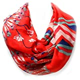 Black, Ivory, or Coral Pueblo Feather Western Style Infinity Scarf from the WYO-HORSE Jewelry Collection (Coral/Red)