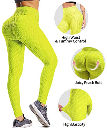 High Waist Butt Lifting Anti Cellulite Workout Leggings for Women Yoga Pants Tummy Control Leggings Tight (X-Large, Neon Yellow)