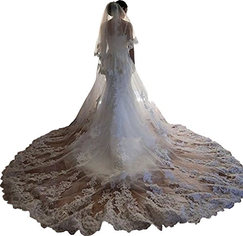 Newdeve White 3.5M 2T Wedding Veils for Bride Lace Edge Free Comb by New Deve