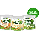 Sprout Organic Curlz Toddler Snacks, Variety Pack, 1.48 Ounce Canister (Pack of 6) 2 of Each: White Cheddar, Broccoli, and Sweet Potato & Cinnamon