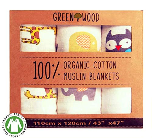 Muslin Swaddle Blankets Unisex - 100% Organic Cotton - 3 pack 43