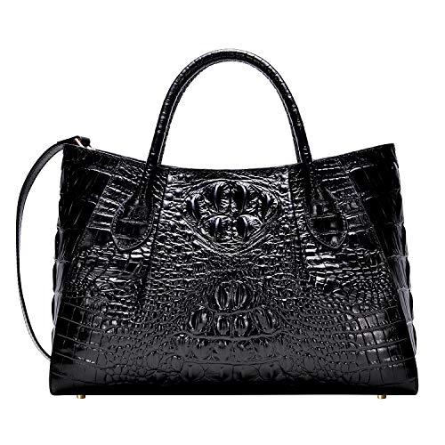 PIJUSHI Women Handbags Crocodile Top Handle Bag Designer Satchel Bags For Women (5002A, Black) ()