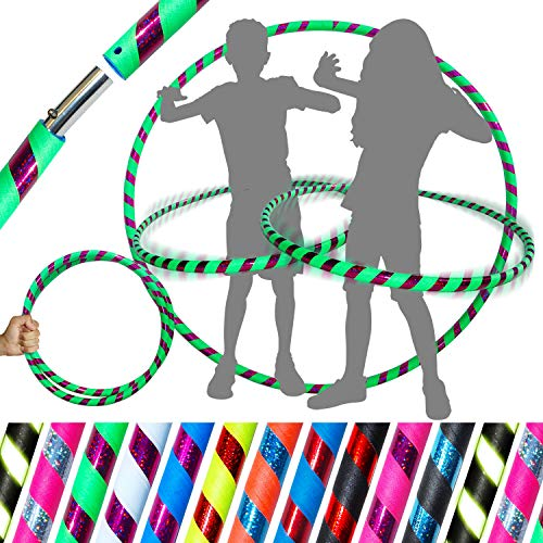 KIDs HULA HOOPS - Quality Weighted Childrens Hula Hoops! Great For Exercise, Dance, Fitness & FUN! NO Instructions needed! Same Day Dispatch! (UV Green / Purple Glitter)