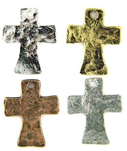 PlanetZia 15pcs 19x15mm Dainty Hammered Cross Charms for Jewelry Making TVT-RZ-7 (Antique Silver)