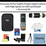 Accessory Kit For Fujifilm Finepix AV200 AV230 AV250 AV280 AX300 AX330 AX350 AX380 Digital Cameras + 4 AA Rechargeable NIMH Batteries + High Speed 2.0 Memory Card Reader +16GB High Speed SD Memory Card + AC/DC Charger + Deluxe Hard Shell Carrying Case + U
