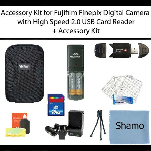 Accessory Kit For Fujifilm Finepix AV200 AV230 AV250 AV280 AX300 AX330 AX350 AX380 Digital Cameras + 4 AA Rechargeable NIMH Batteries + High Speed 2.0 Memory Card Reader +16GB High Speed SD Memory Card + AC/DC Charger + Deluxe Hard Shell Carrying Case + U by Shamo International