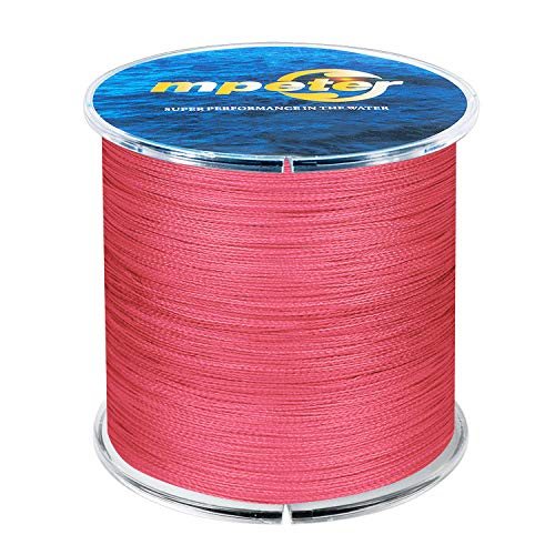 mpeter Armor Braided Fishing Line, Abrasion Resistant Braided Lines, High Sensitivity and Zero Stretch, 4 Strands to 8 Strands with Smaller Diameter,Red,327-Yard/30LB