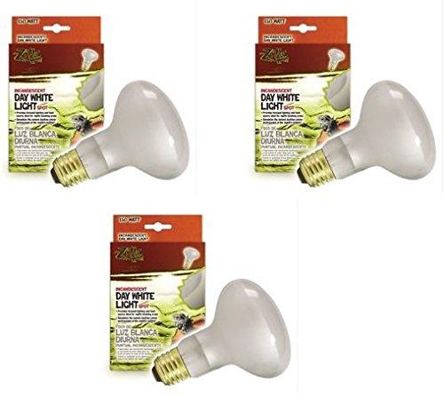 (3 Pack) Zilla Reptile Terrarium Heat Lamps Incandescent Bulb, White Spot, 150W ()