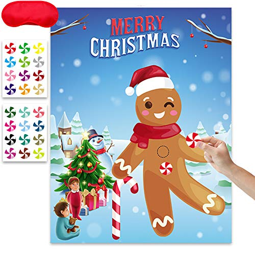 Happy Storm Pin the Button on the Gingerbread Christmas Party Games for Kids Gingerbread Party Supplies Christmas Pin Game for Classroom Family Children Xmas Party Favors with 24 Candy Stickers (Class For Parties Christmas Games)