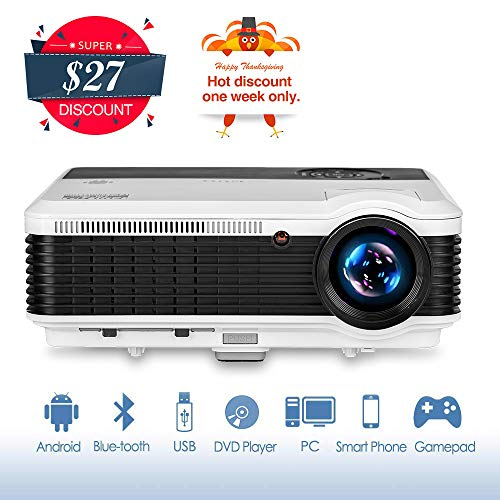 LCD Video Projector Bluetooth Android 6.0, Wxga 3900lumen Multimedia HD 1080P Support HDMI Wireless Screen Mirroring Apps Smart Home Theater Cinema Projector for Gaming Outdoor Movie Party Karaoke Art from EUG