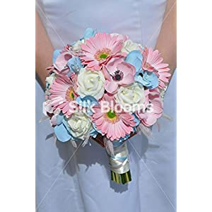 Artifical Pink and Blue Hydrangea & Anemone Bridal Bouquet 49