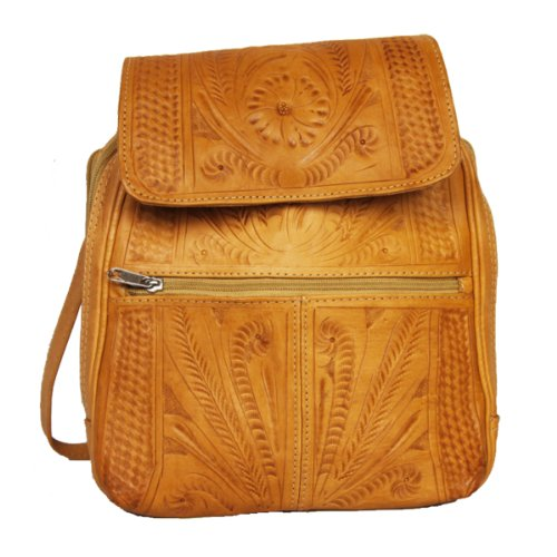 (Hand Tooled Backpack by Ropin West | Real Cowhide Leather | Unique Fashionable Bag for Women | Natural)