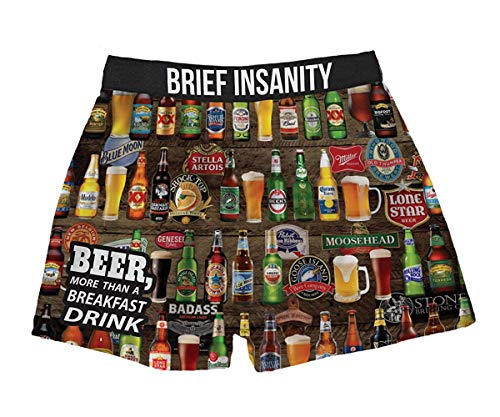 BRIEF INSANITY Men's Boxer Shorts Underwear Beers of The World Print