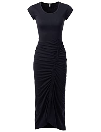 Nearkin Slim Fit Cap Sleeve Sexy Long Dresses Casual Maxi Dress For