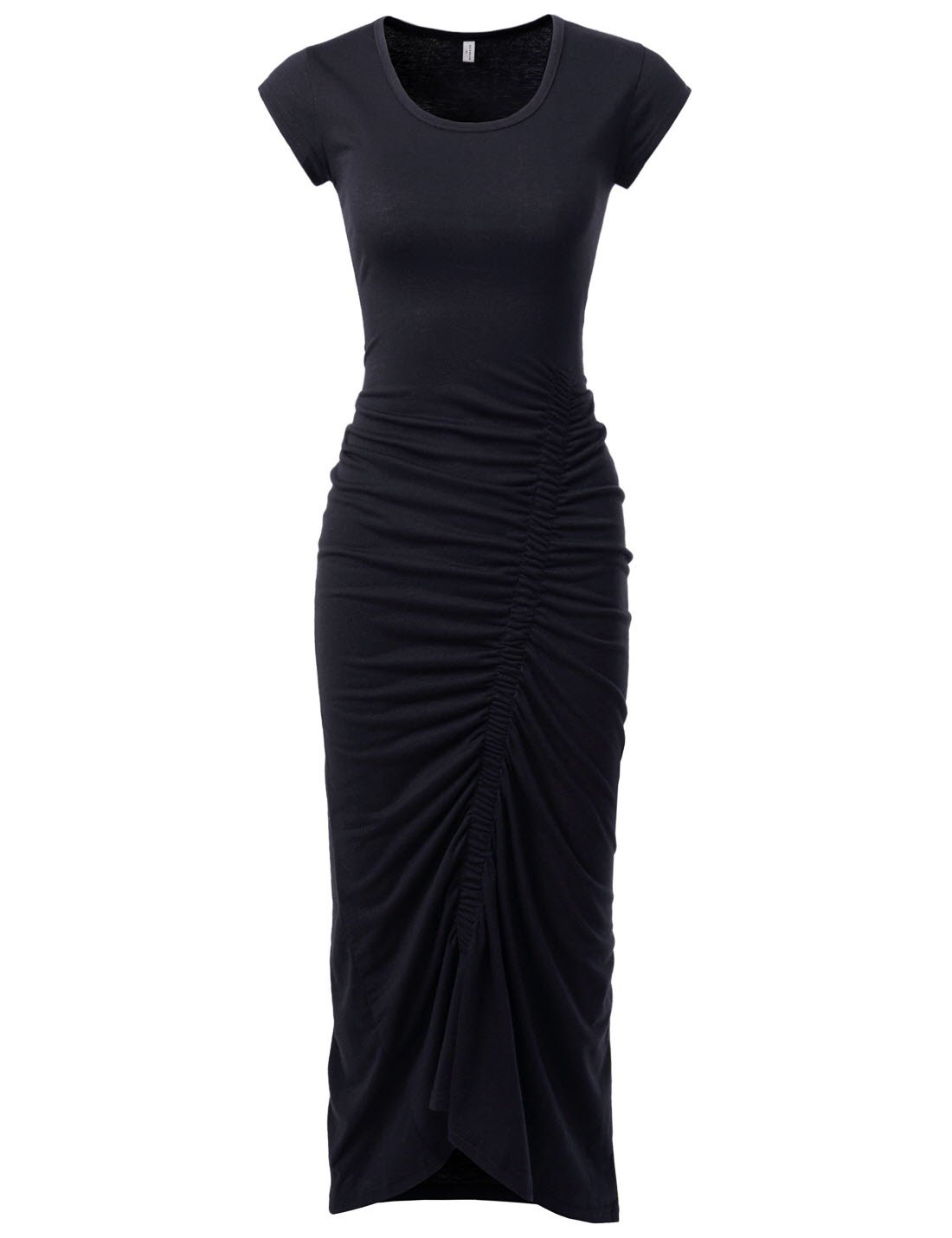 NEARKIN (NKNKWBD801 Womens Cap Sleeve Figure Hugging Scoop Neck Shirred Maxi Dress Black US M(Tag Size L)