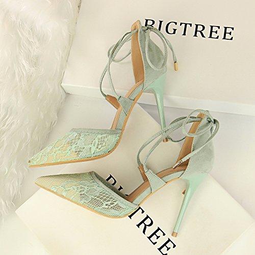 Nuevo Verano un High Green Heeled Cruz Zapatos y Zapatos High Baotou Ladies' par de Sandalias Lazos y apuntó Heeled ZHANGYUSEN Encaje 45fFA4W