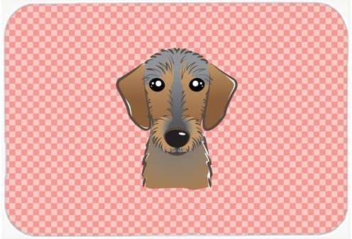 Caroline's Treasures BB1233MP Checkerboard Pink Wirehaired Dachshund Mouse Pad, Hot Pad or Trivet, Large, Multicolor [並行輸入品]