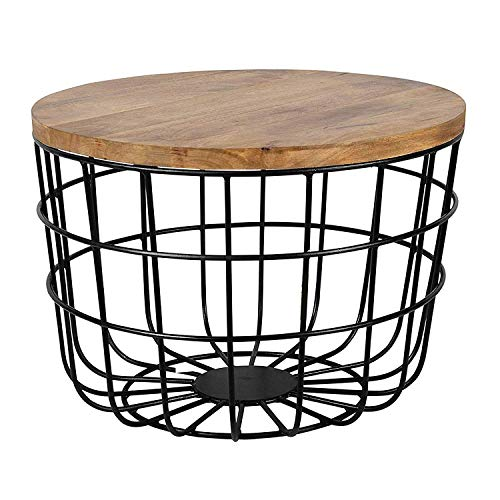 Priti Wooden Round Coffee/Tea Central Table for Living Room, 61x61x42cm (Black)