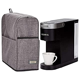HOMEST Dust Cover Compatible with Keurig Coffee Maker, Single Serve Coffee Makers Cover with Storage Pockets for K Cup (Patent Pending) (Fit for K-Slim, Gray)