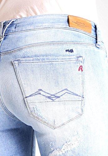 REPLAY ROSE - Damen Jeans Slim Fit - destroyed denim/blue denim W24/L32