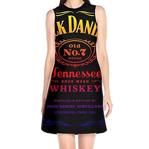 SSDDFF Women's Tshirt Dresses Jack Tennessee Whiskey Daniels Vintage Round Collar Sleeveless S (Wednesday Addams Shoes)