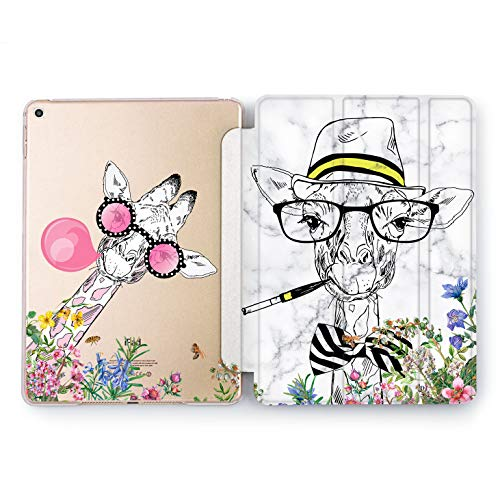 Wonder Wild Giraffe in Glasses iPad 5th 6th Generation Tablet Design Mini 1 2 3 4 Air 2 Pro 10.5 12.9 2018 2017 9.7 inch Smart Stand Cover Cute Animals Flowered Portrait Party Funny Smile Creative -