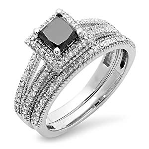 1.35 Carat (ctw) 14K White Gold Black & White Diamond Split Shank Halo Engagement Ring Set (Size 7)
