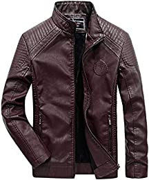 Men Fur Lined Faux Leather Jacket Outerwear