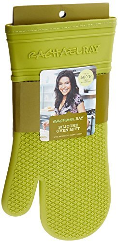 Rachael Ray Silicone Kitchen Oven Mitt with Quilted Cotton Liner, Green