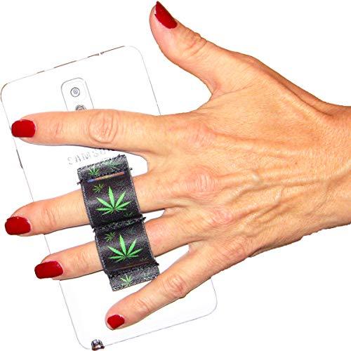 - LAZY-HANDS 2-Loop Phone Grip - FITS Most - Pot Leaf 1 Marijuana Leaf Ganja Weed Cannabis