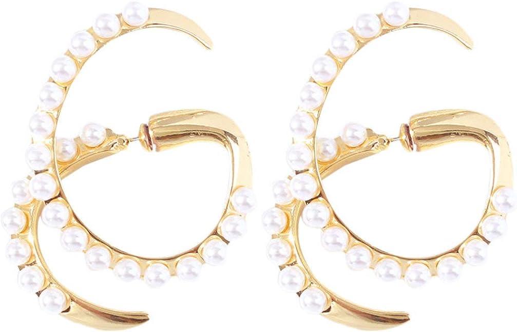 Happyyami Pendientes de Perlas Pendientes de Perlas Geométricas Pendientes Cruzados en Espiral Joyería del Oído Decoración del Oído para Mujeres Doradas