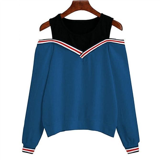 Minetom Damen Sweatshirt Frauen Sexy Casual Rundhals Langarm Off Shoulder  Patchwork Sport Pullover Bluse Hemd Tops Schulterfrei Oberteile Sommer  Herbst  ... 788e997f40