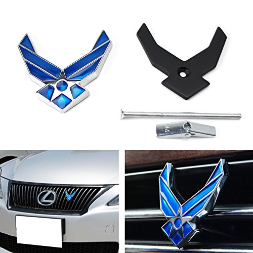 Truck Golf Shirt ((1) 3D Full Metal USAF Air Force Novelty Badge Emblem For Car Front Grille w/ Mounting Bracket Hardware)