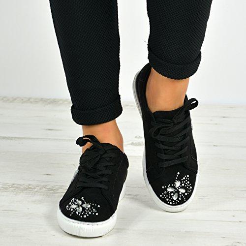 Cucu Fashion New Womens Casual Sneakers Flat Lace Up Diamante Trainers Pumps Shoes Size UK Black FdVhpHcQ