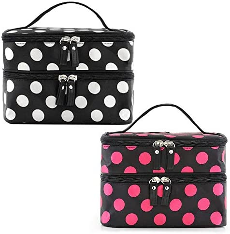 2 pack Mini Makeup Bag Travel Organizer Double Layer Cosmetic Bags Beauty Case Double Zipper Carry Cases Storage Bags for Personal Care Hygiene Purse Great Gifts