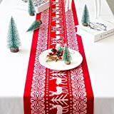 Christmas Table Runners Washable Printed Linen Table Lines for Xmas Holiday Season Home Table Christmas Decoration 12 x 108 Inch (Red)
