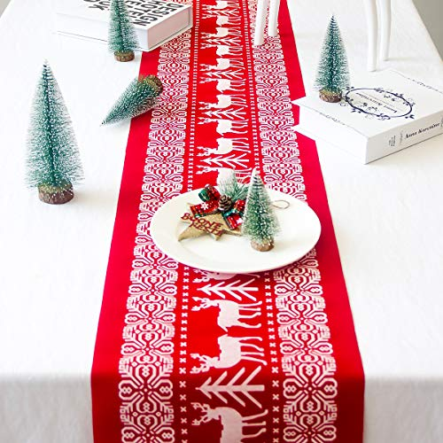 T-Antrix Christmas Table Runners Washable Printed Linen Table Lines for Xmas Holiday Season Home Table Christmas Decoration 12 x 108 Inch (Inexpensive Christmas For Decorations Table)