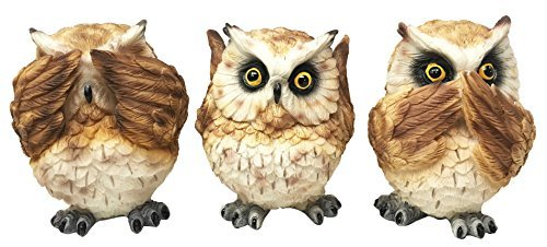 Gifts Great Home Collectibles Decor - Ebros Ancient Transient Wisdom Of The Forest See Hear Speak No Evil Great Horned Owls Figurine Set Hoot Hoot Nocturnal Owl Decor Collectible Sculptures