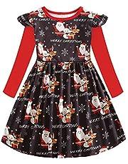 Yuiopmo Mädchen Kleider Langarm Baumwolle Kinder Kleid Süßes Muster Weihnachten Schneemann Urlaub Party Kleide Prinzessin Rock (2-8 Jahre)