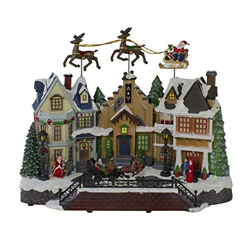 "Northlight 16"" LED Lighted and Animated Christmas Village with Flying Sleigh"