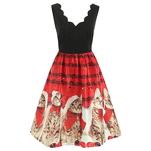 BeautyGal Women's Cat Musical Notes Printed Christmas Dress Sleeveless V-Neck Xmas Party Dresses Red -