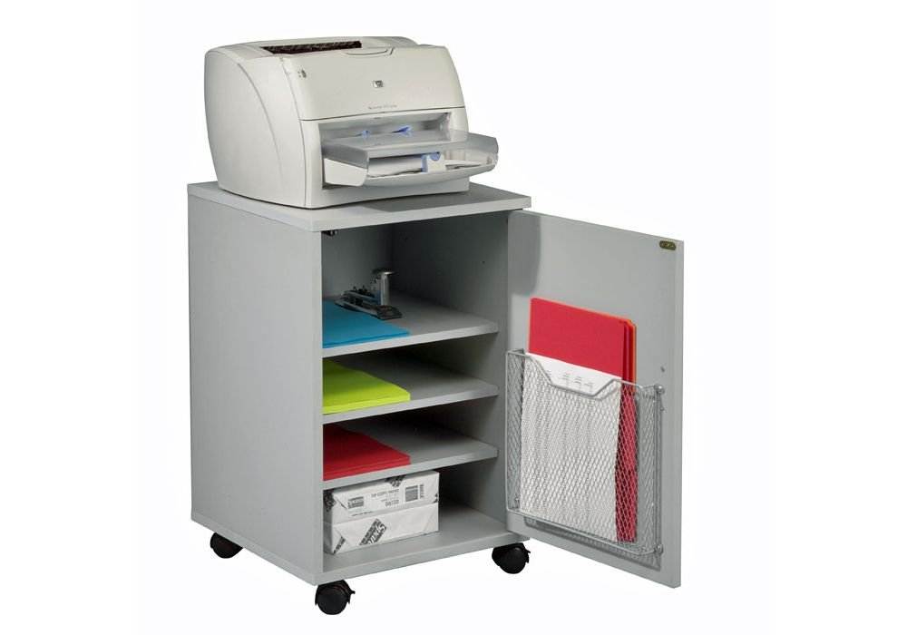 Gray Laminate Mobile Machine Stand Dimensions: 17.5''W x 17.5''D x 26.5''H Weight: 53 lbs.