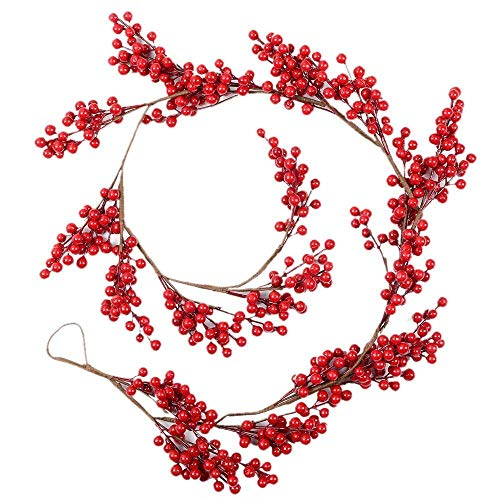 Woooow 67Inch Christmas Red Berry Garland,Decorative Artificial Burgundy Red Pip Berry Christmas Garland for Christmas Holiday -